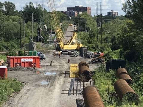 Snapshot of the Trillium Line / VIA Rail flyover - August 17, 2020