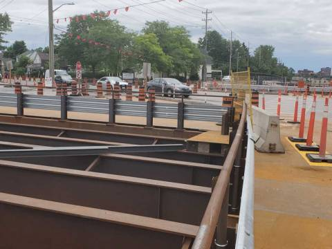Snapshot of Woodroffe Ave. and Richmond Rd. temporary bridge - June 11, 2021